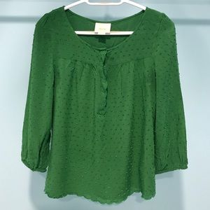 Anthropologie Maeve Swiss Dot Green Top Size 8